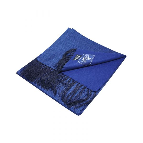 Navy with Black Design Wool Backed Silk Scarf from LA Smith