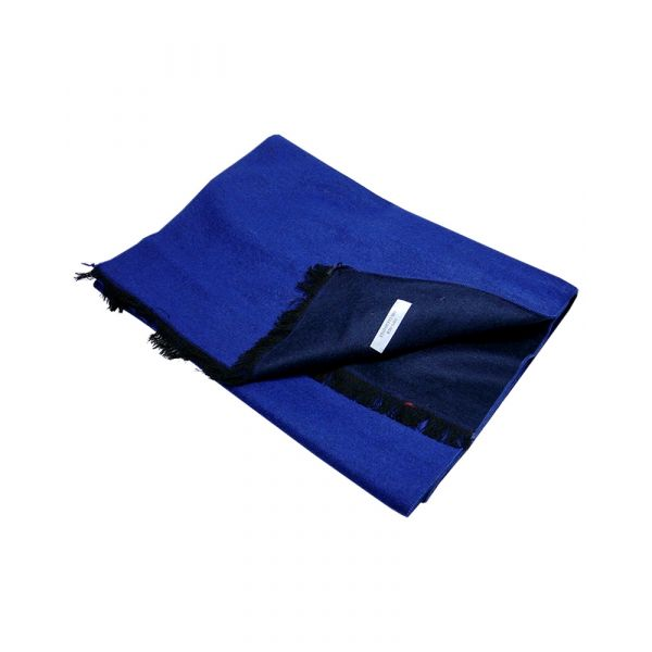 Navy and Blue Reversible Brushed Silk Scarf from LA Smith