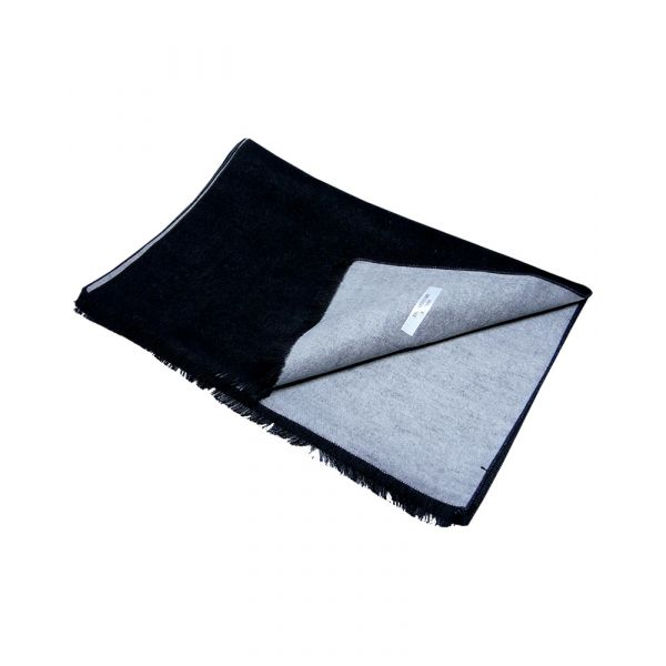 Black and Grey Reversible Brushed Silk Scarf from LA Smith