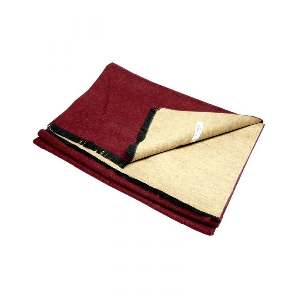 Wine and Camel Reversible Brushed Silk Scarf from LA Smith