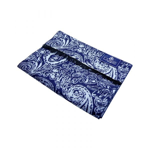 Dark Blue with Bright Paisley Brushed Silk Scarf from LA Smith