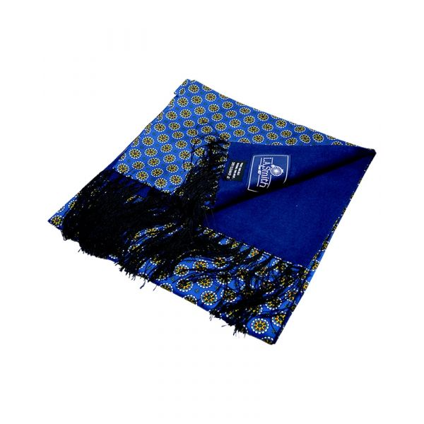 Blue Medallion Design Wool Backed Silk Scarf from LA Smith