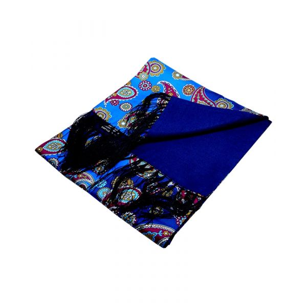Blue with Wine Modern Paisley Design Wool Backed Silk Scarf from LA Smith