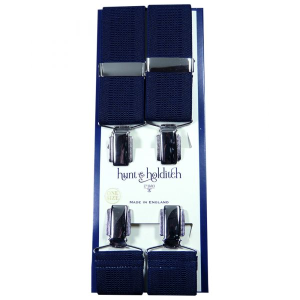 Navy Textured - Clip Braces from Hunt and Holditch