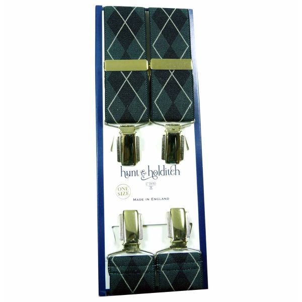 Shadow Grey Argyle - Clip Braces from Hunt and Holditch