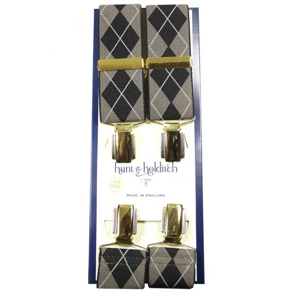 Coffee Argyle - Clip Braces from Hunt and Holditch