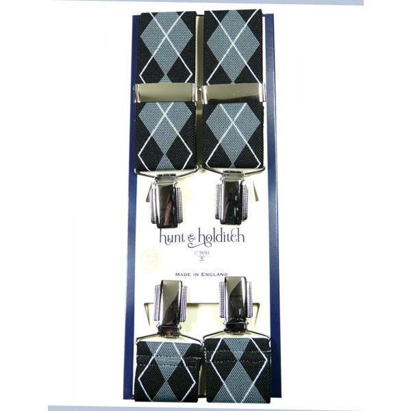 Black Argyle - Clip Braces from Hunt and Holditch