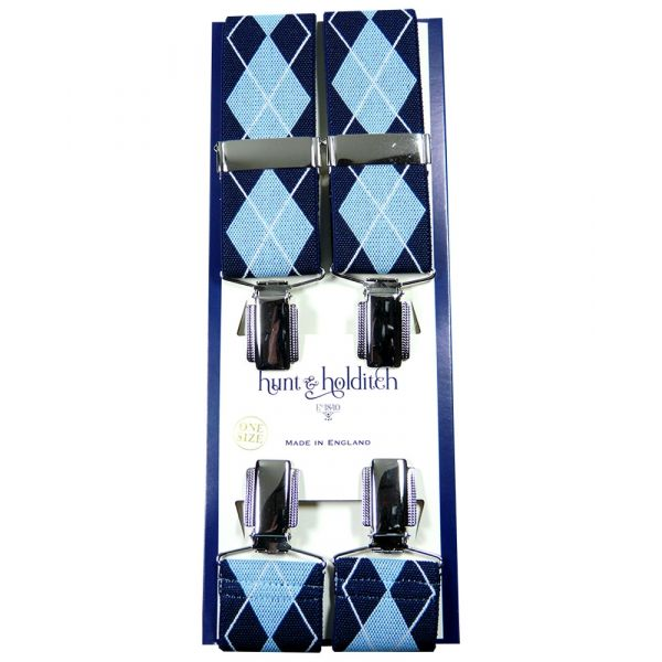 Blue Argyle - Clip Braces from Hunt and Holditch