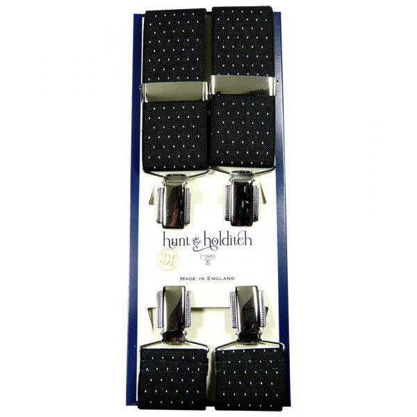 Navy Pindot - Clip Braces from Hunt and Holditch