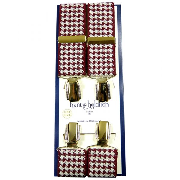Burgundy Houndstooth - Clip Braces from Hunt and Holditch
