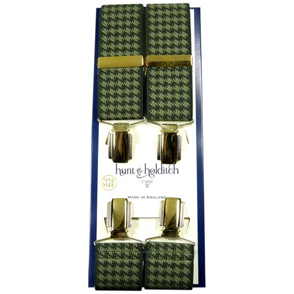 Olive Houndstooth - Clip Braces from Hunt and Holditch