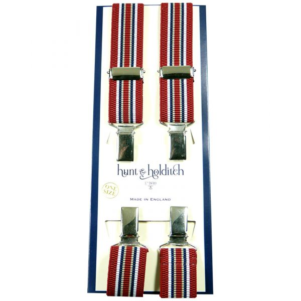 Red with Stripes - Narrow Clip Braces from Hunt and Holditch