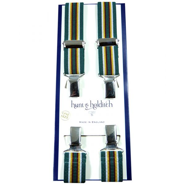 Green with Stripes - Narrow Clip Braces from Hunt and Holditch