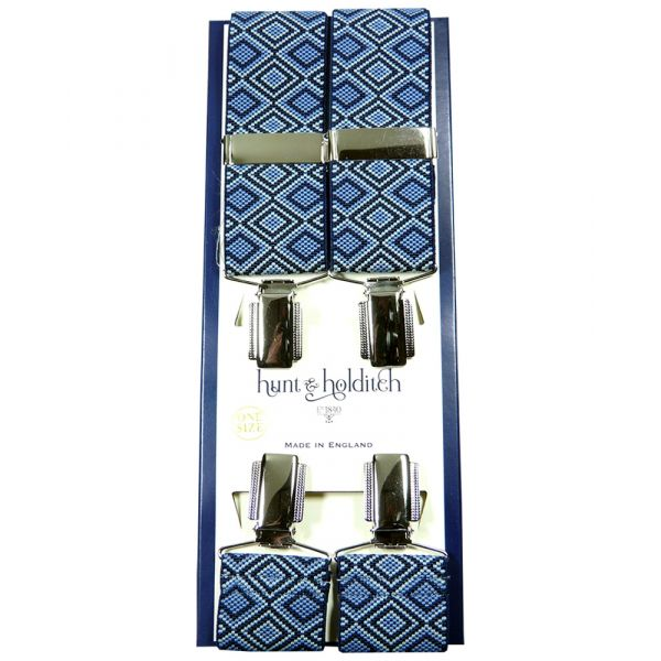 Blue Retro Diamonds - Clip Braces from Hunt and Holditch