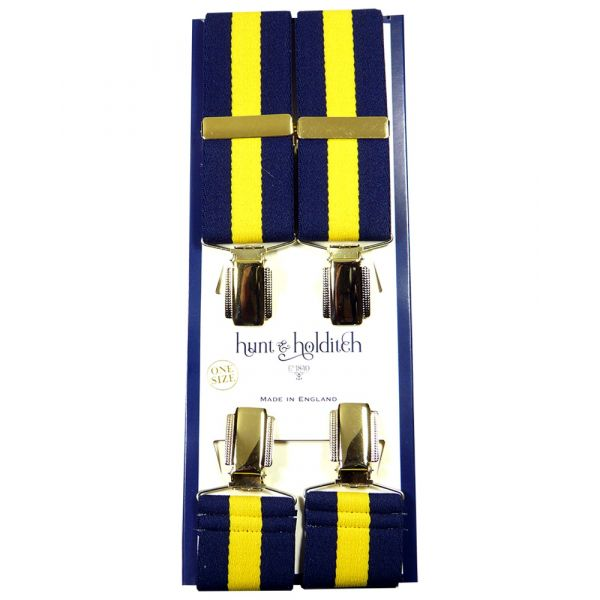 Navy with Gold Centre Stripe - Clip Braces from Hunt and Holditch