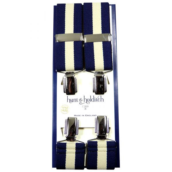 Navy with Beige Centre Stripe - Clip Braces from Hunt and Holditch