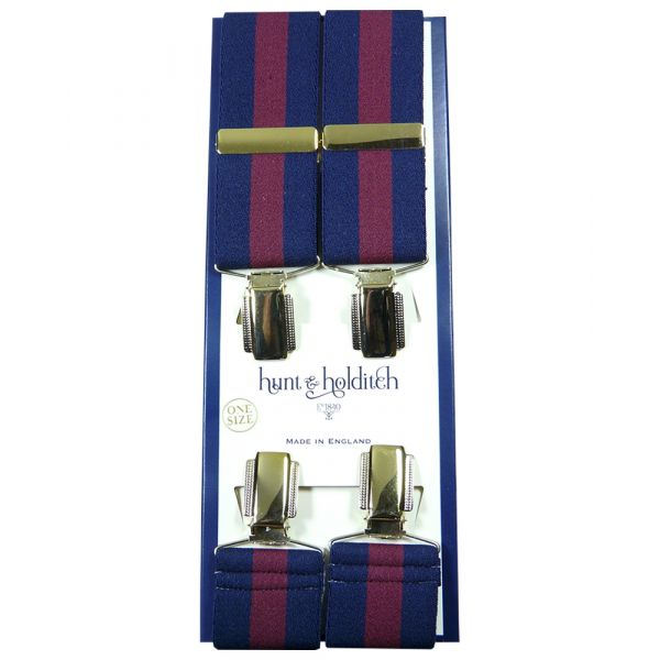 Navy with Wine Centre Stripe - Clip Braces from Hunt and Holditch