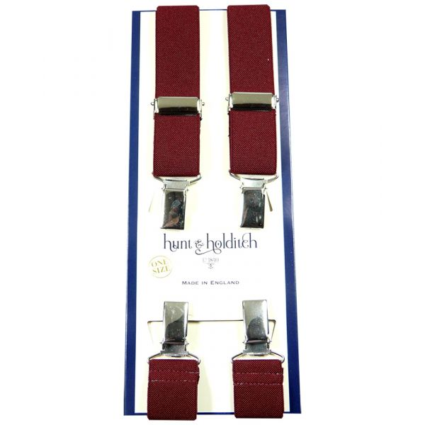 Plain Maroon - 1 Inch Wide - Clip Braces from Hunt and Holditch