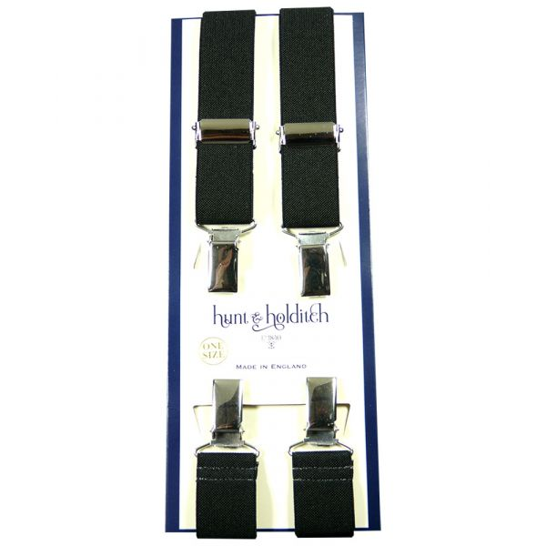 Plain Black - 1 Inch Wide - Clip Braces from Hunt and Holditch