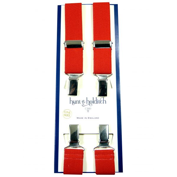 Plain Red - 1 Inch Wide - Clip Braces from Hunt and Holditch