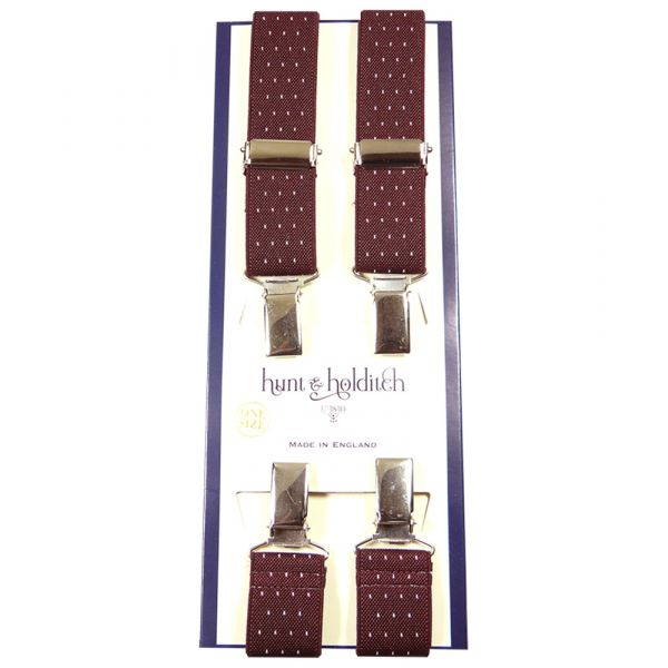 Maroon Pindot - 1 Inch Wide - Clip Braces from Hunt and Holditch