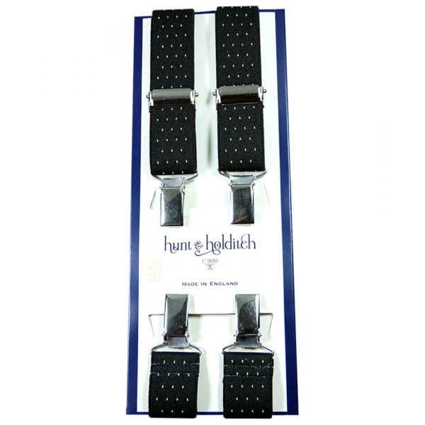 Black Pindot - 1 Inch Wide - Clip Braces from Hunt and Holditch