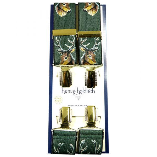 Green with Stags Head - Clip Braces from Hunt and Holditch