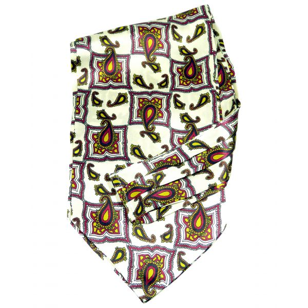 Tootal - Silk Cravat in Ivory Tile Design with Red and Gold Paisley.