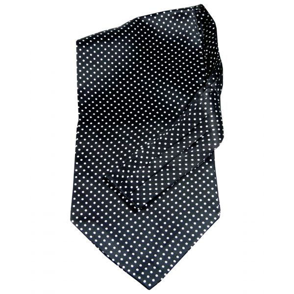 Tootal - Silk Cravat in Black with White Spots