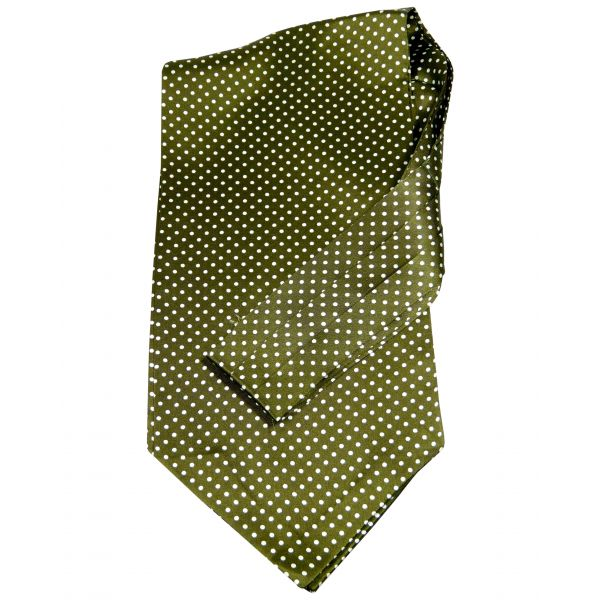 Tootal - Silk Cravat in Parka Green with White Spots