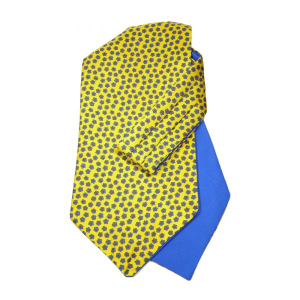 Gold Floral - Self Tie Silk Cravat from Hunt and Holditch