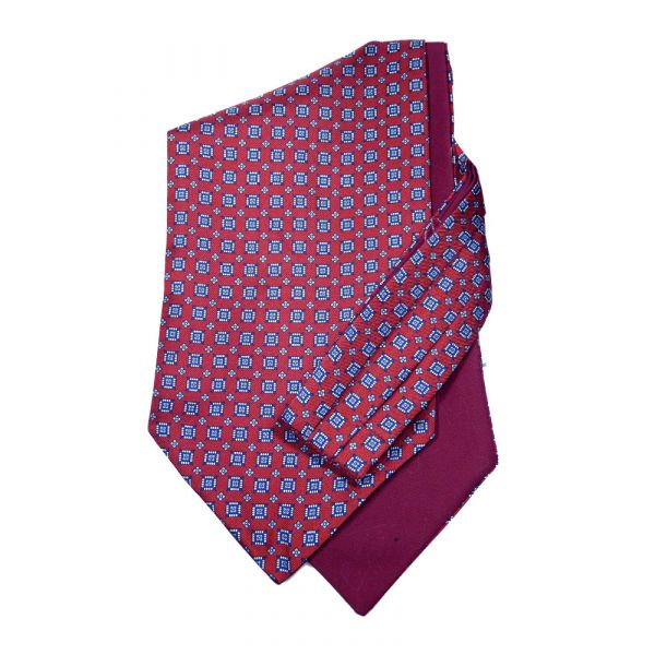 Claret Squares - Self Tie Silk Cravat from Hunt and Holditch