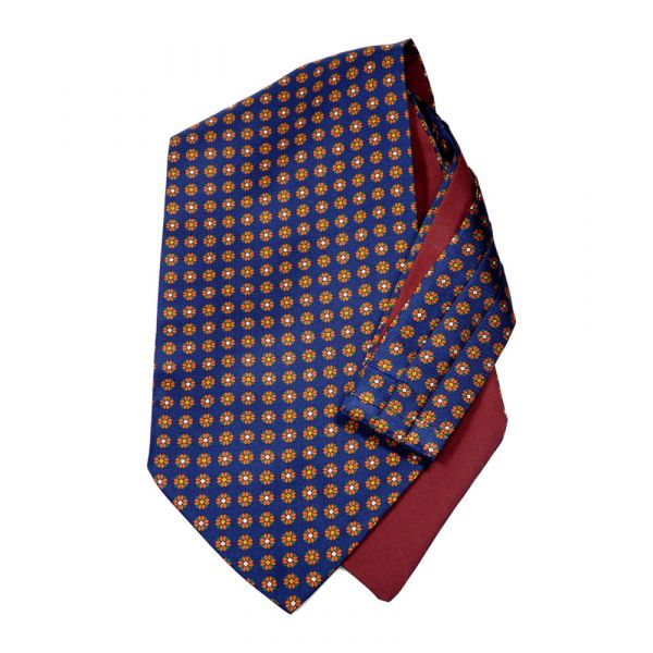 Navy Floral - Self Tie Silk Cravat from Hunt and Holditch