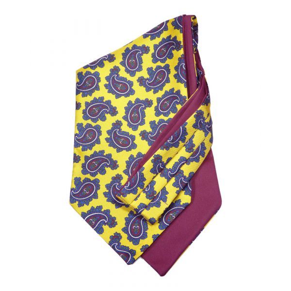 Gold Paisley - Self Tie Silk Cravat from Hunt and Holditch