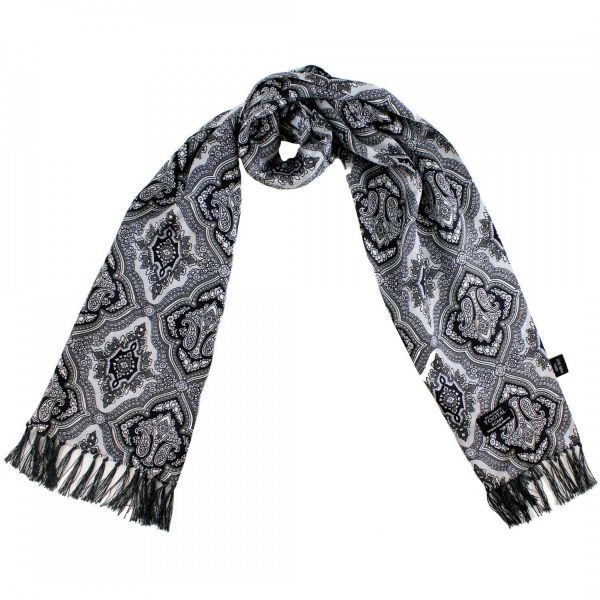 Tootal Silk Scarf - Silver with Black and Grey Retro Design