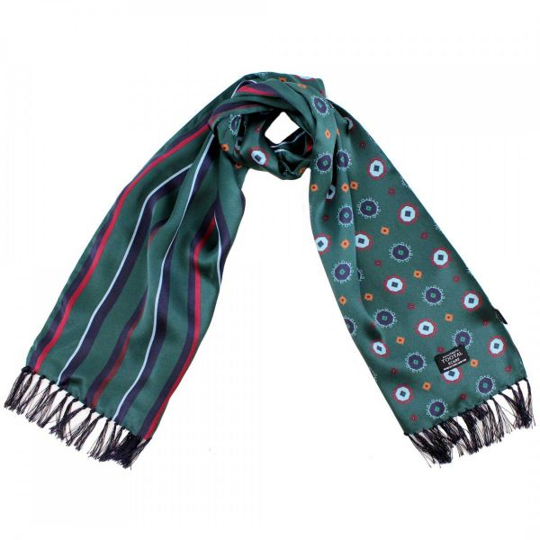 Tootal Silk Scarf - British Racing Green Octagons Design