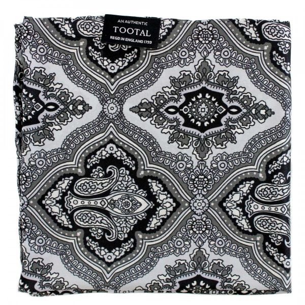 Tootal Silk Handkerchief - Silver with Black and Grey Retro Design
