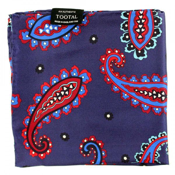 Tootal Silk Handkerchief - Blue and Red Paisley