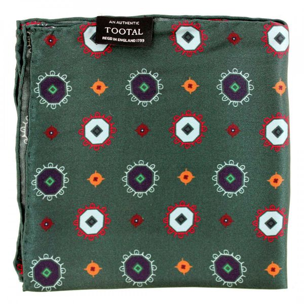 Tootal Silk Handkerchief - British Racing Green Octagons Design