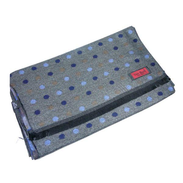 Van Buck Reversible Scarf, Grey, Blue & Browns  Spots'n'Strips Design