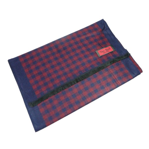 Van Buck Reversible Scarf, Navy and Wine Check Reverse Boarder Design