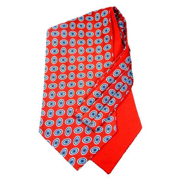 Van Buck Silk Cravat with Cotton Back Retro Ovals Design