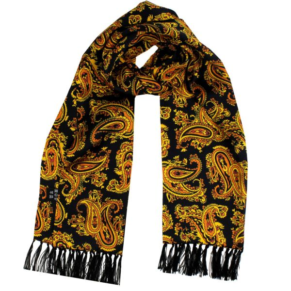 Tootal Silk Scarf in Gold and Black Paisley Design