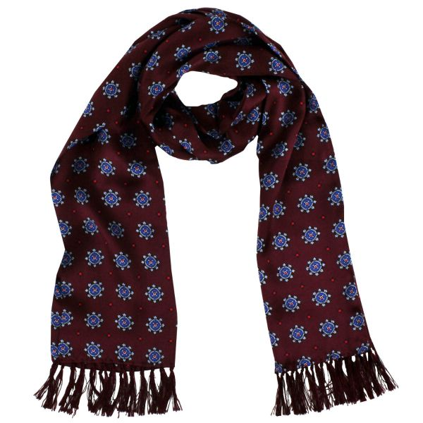 Tootal Silk Scarf in Wine with Blue Octagons Design