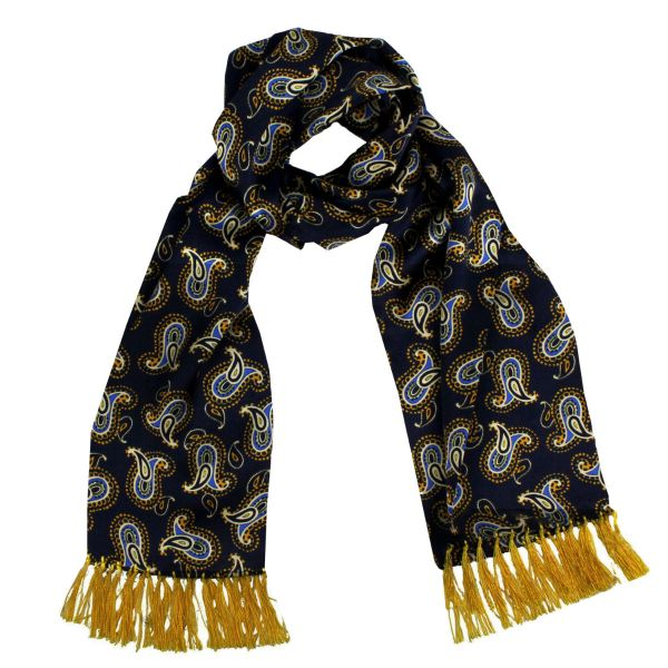 Tootal Silk Scarf in Navy with Gold Paisley Design
