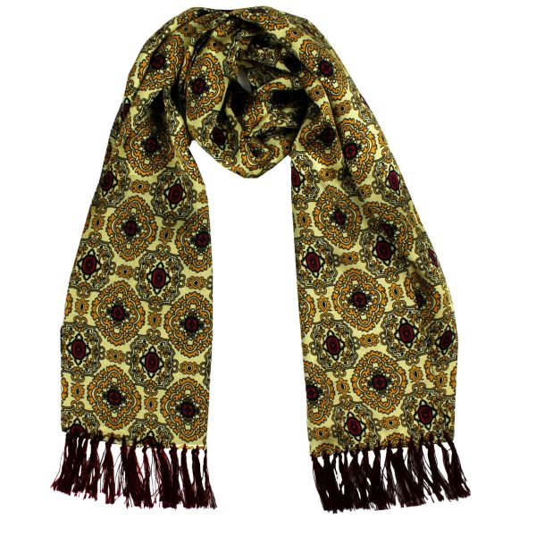 Tootal Silk Scarf in Lemon with Large Gold Medallion Design