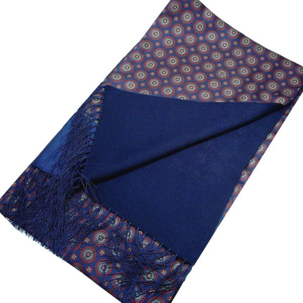 Silk and Wool Scarf in Medallion Design from Michelsons-Navy