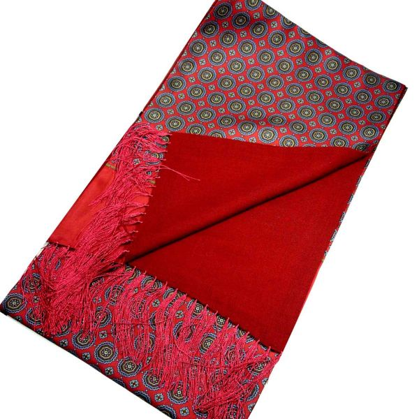 Silk and Wool Scarf in Medallion Design from Michelsons-Red