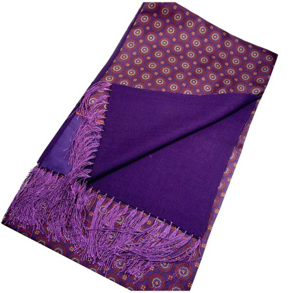 Silk and Wool Scarf in Medallion Design from Michelsons-Purple