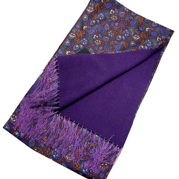 Silk and Wool Scarf in Purple Garden Floral Design from Michelsons